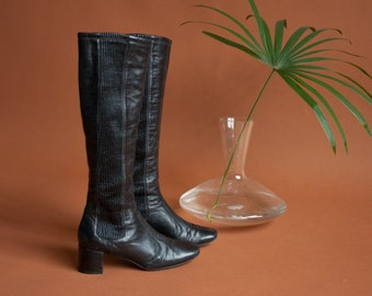 black leather skinny fitted boots / knee high boots / 5.5 M / 806s / B4