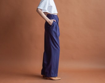 GIANNI VERSACE purple wool trousers / baggy trousers / colorblock trousers / m / l / xl / 1103t / B9