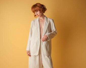 cream woven blazer / oversized boyfriend blazer / 1980s oversized jacket / s / m / 355o / B19