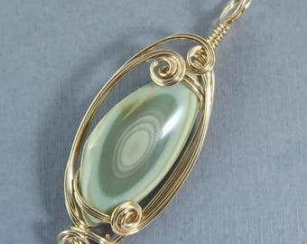 Royal Imperial Jasper Gemstone Cabochon Pendant 14k Gold Filled Green Sage Wire wrapped sculpted