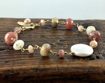 Pearl and Gemstone Gold Fill Bracelet with Sunstone, Peach Moonstone, and  Moonstone