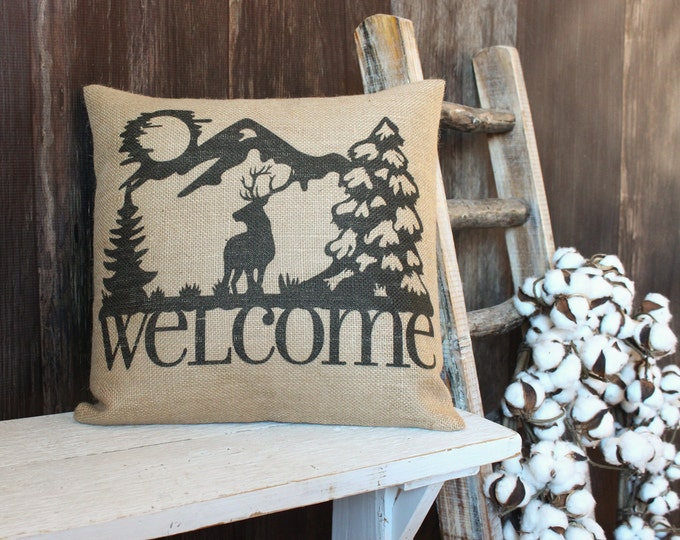 Featured listing image: Rustic style Elk Welcome burlap throw pillow w/ Elk and Mountains for cabin hunting lodge style outdoorsman gift for hunters
