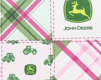 MadieBs Pink Madre John Deere Plaid Cute Crib or Toddler Bed Skirt