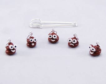 Poop Happens knitting or crochet stitch markers - Set of 5