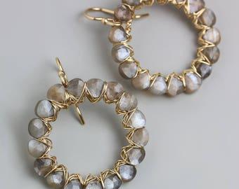 Gray Moonstone Gem Weave Circle Earrings. Hoop Earrings.