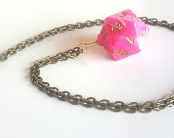 Dice Pendant Necklace - Pink D20 Twenty Sided Dice Jewelry - Geeky Gamer Jewelry