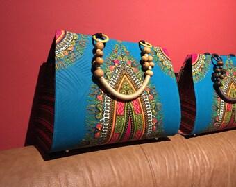 African Dashiki Ankara Purse, African Bag, Turquoise African Purse, Ankara Fabric, Fair Trade, Shoulder Bag, Tote, Carryall, Fair Trade