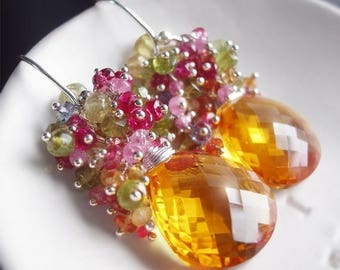 ON SALE - Custom Made to Order - Golden Citrine Earrings with Pink Torumaline, Green Garnet, Tananite, and Sapphire