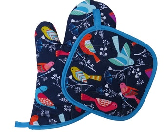 Navy Birds Oven Mitt and Pot Holder Set