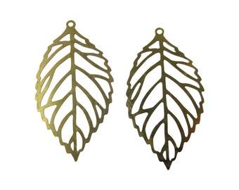 Raw Brass Laser Cut Leaf Charms (10x) (K617-A)