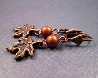 Fall Leaf Earrings, Copper Leaves and Glass Beaded Dangle Earrings, FREE Shipping U.S.