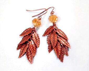 Leaf Fringe Earrings, Copper Leaf Tassels, Amber Glass Dangle Earrings, FREE Shipping U.S.