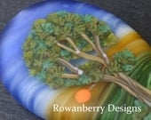 Painterly Trees at Sunset - Handmade Lampwork Glass Focal Tree Bead - Rowanberry SRA - Landscape