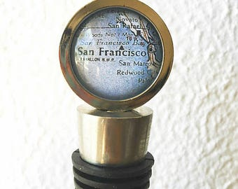 San Francisco Map Wine Bottle Stopper - Choose from 30 different maps - Featuring San Mateo, Oakland, San Jose, Golden Gate Bridge, and more