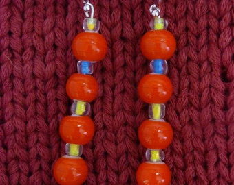 Towering Orange. Jewelry earrings glass bead ball dangle silver gift for her yellow blue color