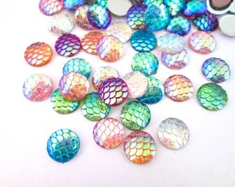 Ten 12mm Mixed Color Iridescent Fish Scale Cabochons, Mermaid Cabochons, E171