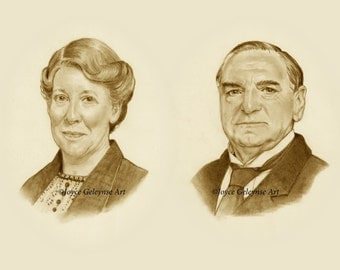 Downton Abbey Pencil Portraits, Mr. Carson and Mrs. Hughes, Original Drawings, Sepia Tones, Butler and Housekeeper, Shipping Included