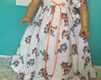18 inch Doll Clothes - White Flannel Nightgown with Softball Girls