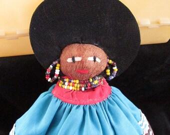 Vintage Seminole Indian Native American Doll Palmetto Fiber Glass Bead Jewelry Handmade 8.5 Inches