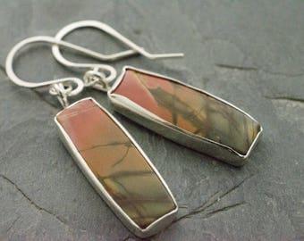 Cherry Creek Jasper Earrings. Gemstone Earrings. Rectangle Earrings. Jasper Gemstone. Sterling Silver Earrings