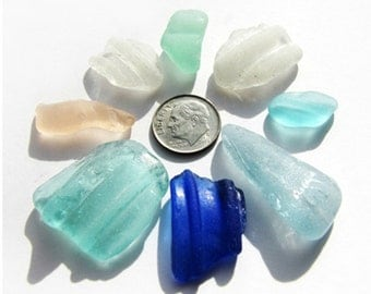 Sea Glass, 8 pc Lot of Genuine Sea Glass in Blue and other Pastel Colors
