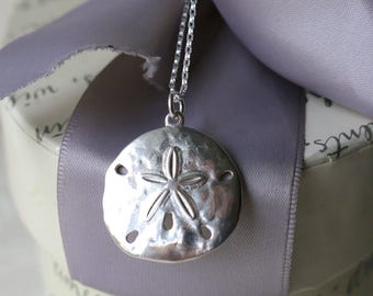 Sand Dollar Necklace - Sterling Silver with 18in Sterling chain