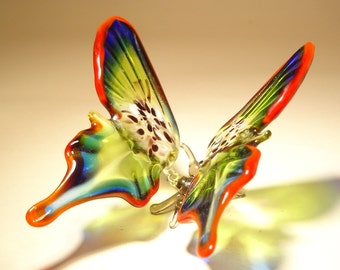Blown Glass Figurine Art Insect Red, Blue and Green BUTTERFLY