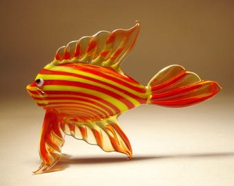 Handmade Blown Glass Art Figurine Red and Yellow Striped Tropical Fish