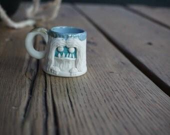 hand thrown, ceramic,  MINI Yeti shot glass