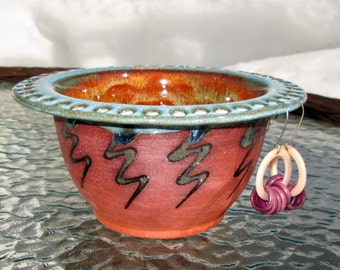 Handmade Earring Bowl - Jewelry Holder in Rich Turquoise and Orange