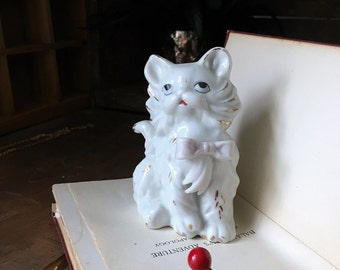 Vintage Cat Figurine with Gold Accents 1950s