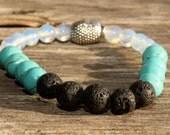Lava stone, Turquoise Howlite and Moonstone, Yoga Bracelet, Buddha Bracelet, Stacking Bracelet, Essential Oils, Aromatherapy
