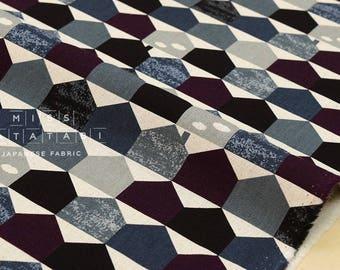 Japanese Fabric - houses canvas - black, grey, eggplant - fat quarter