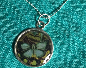 Sterling silver Charm necklace, Blue Butterfly, resin, handmade in the US