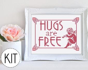 Modern Cross Stitch Kit Beginner Cross Stitch Kit Hugs Are Free Valentine Embroidery Kit Funny Cross Stitch Kit Easy Cross Stitch Kit