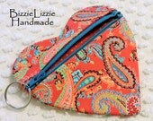 Paisley Fabric Zipper Pouch Key Chain, Valentine Pouch, Heart Shaped Gift Card Pouch Change Purse, Small Coin Bag, Earbuds Pouch, 10 & Under
