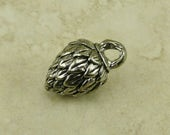 Mystery Nut Green Girl Charm Pendant - Beer Hops Flower Pine Cone Blossom Floral - American Artist Made Lead Free Pewter Silver 220