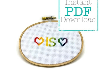 Love is Love Counted Cross Stitch Pattern PDF Download
