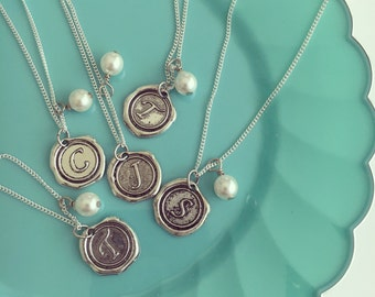 Initial Necklace for her, Wax Seal Necklace, Letter Necklace, Silver Initial necklace, Bridesmaid gift ideas