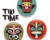 Tiki tribal mask buttons