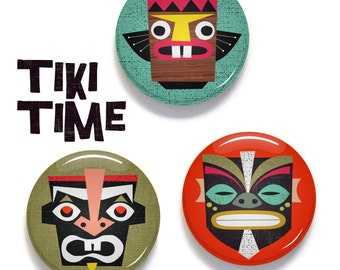 Tiki tribal mask buttons