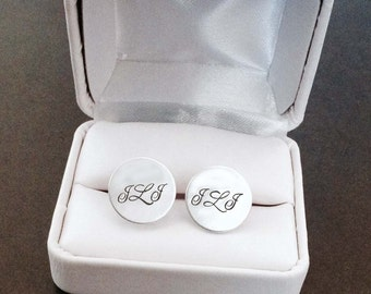 Personalized Solid Sterling Cufflinks Coordinates Monogram Date by donnaodesigns