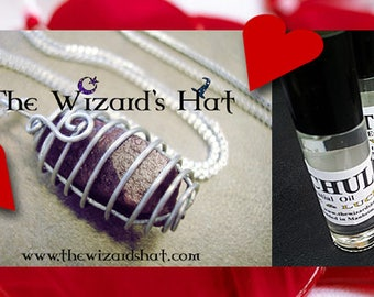 A beautiful Raw Genuine Madagascar Ruby wire wrapped .925 ss snake chain & Essential oil gift set!