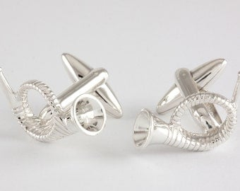 Hunting Horn Cufflinks, Sterling Silver, handcrafted,  personalized