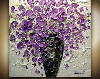 ORIGINAL Contemporary Purple Flowers Bouquet in Vase Thick Impasto Palette Knife Textured Oil Acrylic Painting by Susanna