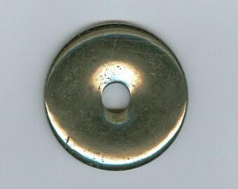 50mm Golden Pyrite Gemstone PI Donut Gold Focal Pendant Doughnut