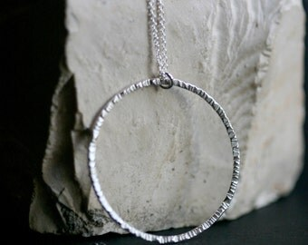 Silver Texture Circle Necklace, Modern Textured Circle Sterling Silver Necklace, forged Silver