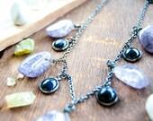 Protector Purple Crackled Agate & Blue Goldstone Necklace / Crystal Gemstone / Healing Stone / Boho