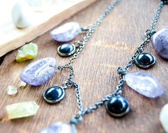 Protector Purple Crackled Agate & Blue Goldstone Necklace / Crystal Gemstone / Healing Stone / Boho