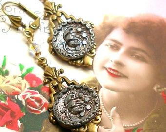 Azalea BUTTON earrings, French Victorian flowers in brass drops. Unique jewellery, present, gift.